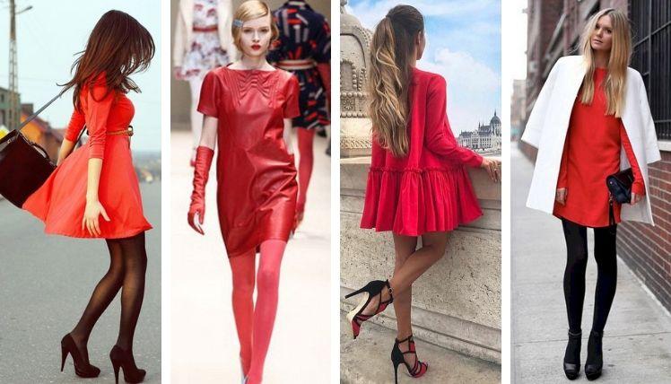 Однотонные красные платья прекрасно сочетаются с колготками разных цветов и плотности