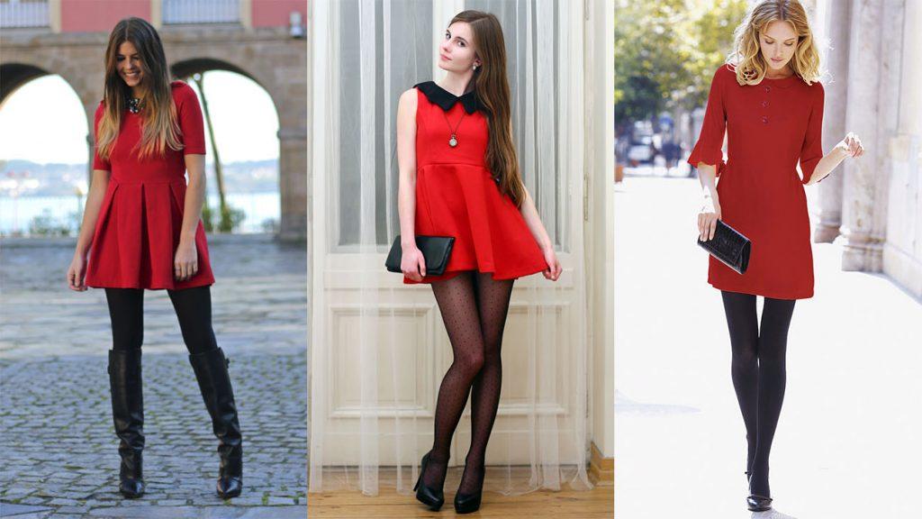 Для вечерних капсул с черными колготками стоит выбрать красное платье или других ярких оттенков