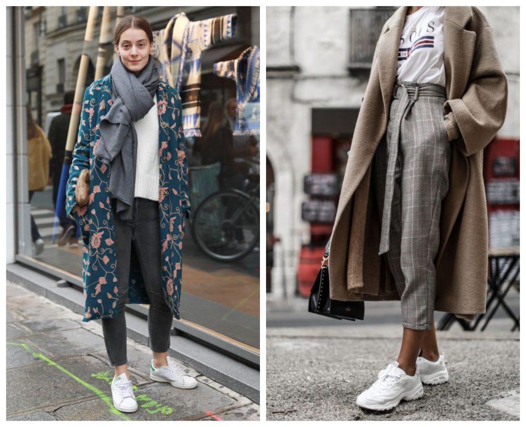Бежевые колготки смогут достойно вписаться в образ с укороченными брюками и белыми кроссовками