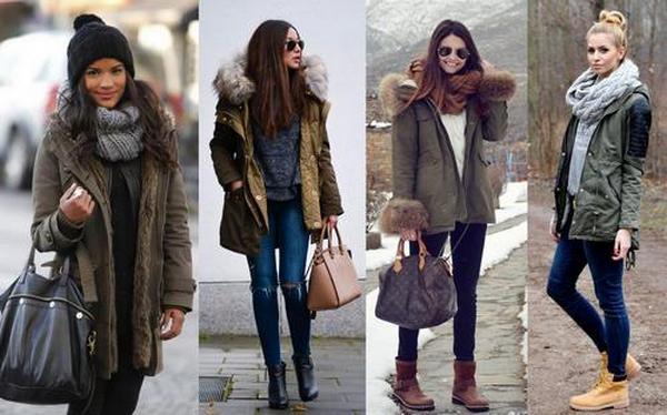 Зимние парки можно носить с различными вариантами обуви и аксессуарами