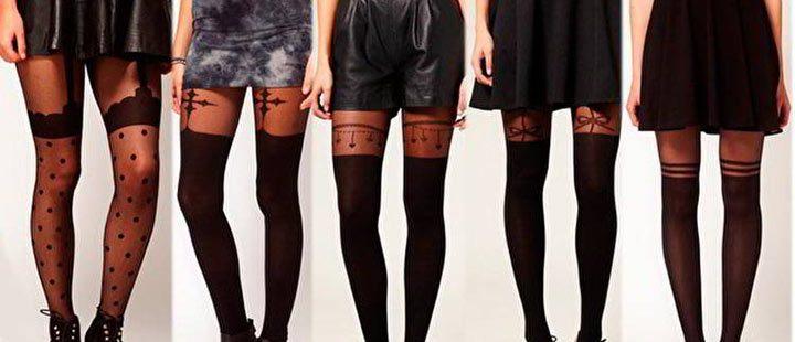 На девушках чулки с разными узорами в сочетании с трикотажными юбками-клеш длины мини, кожаными шортами, юбкой-карандаш.