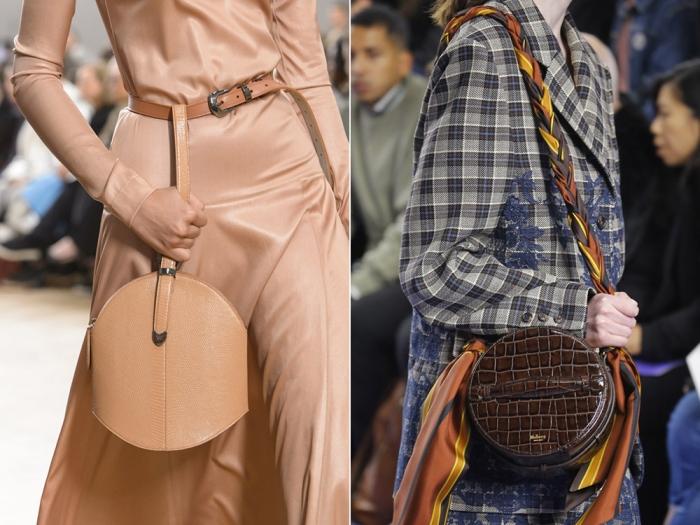 Дизайнеры предлагают носить круглый аксессуар на поясе либо с косынкой.