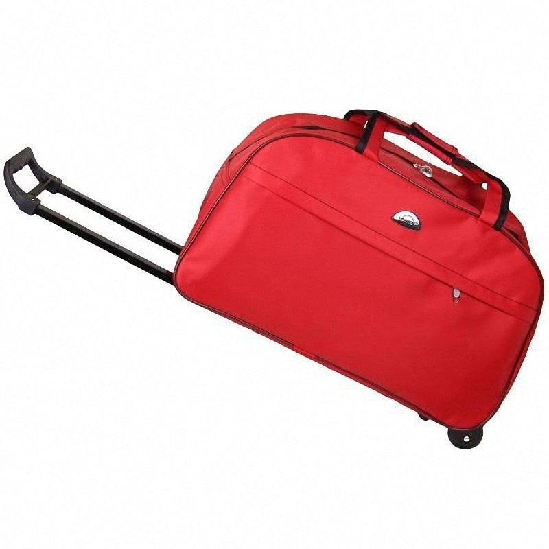 Сумки-чемоданы имеют колесики и выдвижную ручку.