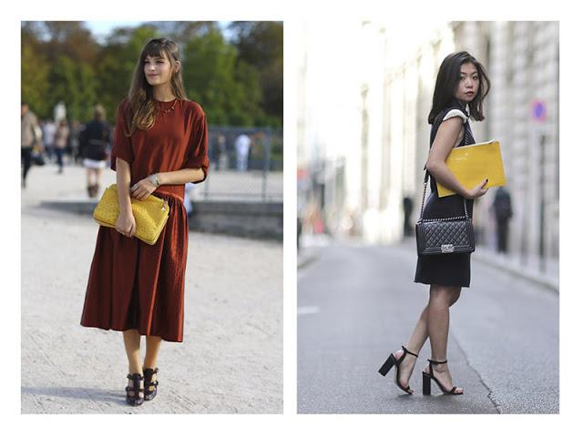 Платье, клатч и босоножки на каблуке создают женственный образ.