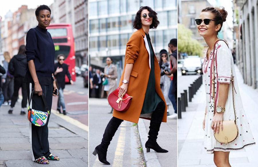 Сумка-седло сочетается с большинством видов одежды.