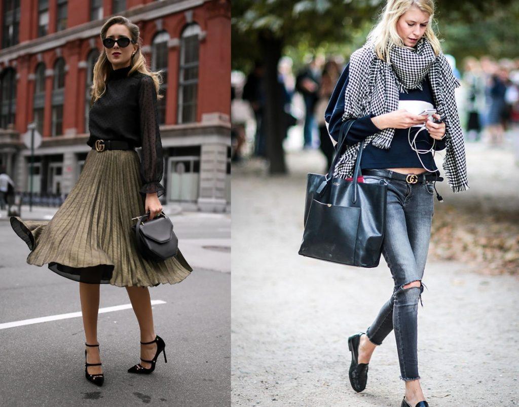 Слева вы видите ремень Gucci с плиссированной женственной юбкой и экстравагантными туфельками на каблуке, справа – с джинсами, габаритной сумкой и обувью на плоском ходу