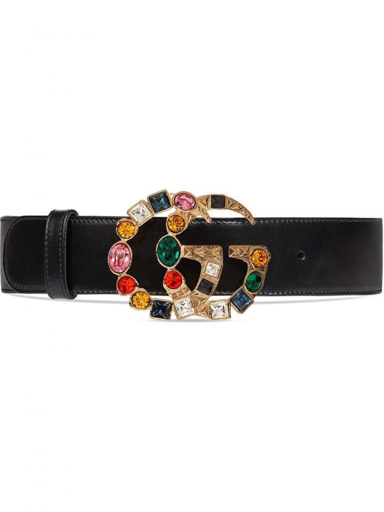 Ремень Gucci с пряжкой в виде логотипа, украшенной цветными стразами