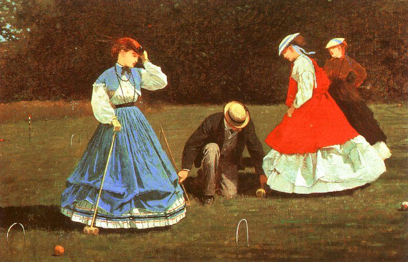В XIX столетии девушкам приходилось играть в крокет в длинных платьях.