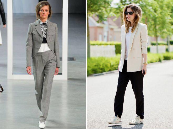 Спортивно-деловой стиль допускает различные фасоны жакетов и брюк.
