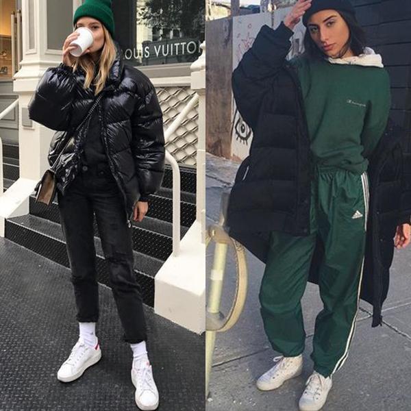 С курткой можно комбинировать и джинсы, и спортивные штаны с лампасами.