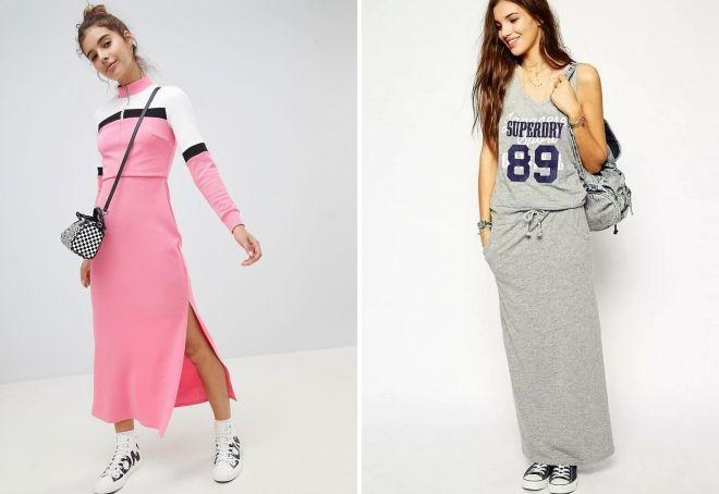Спортивные платья украшают полосами, надписями и крупными цифрами.