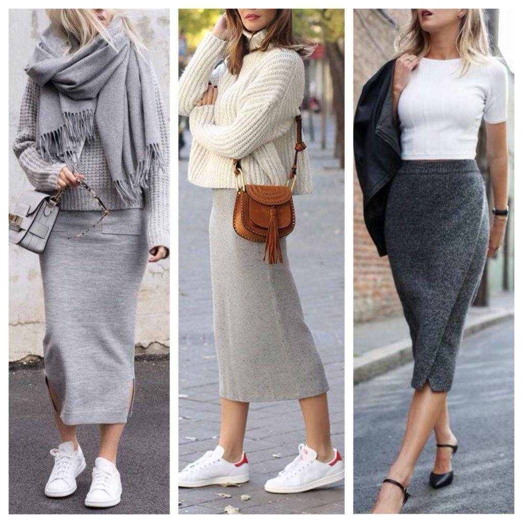 Трикотажные прямые юбки гармоничны со свитерами оверсайз и кожаными куртками.