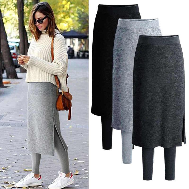 Чтобы не замерзнуть, юбку можно носить с теплыми лосинами.