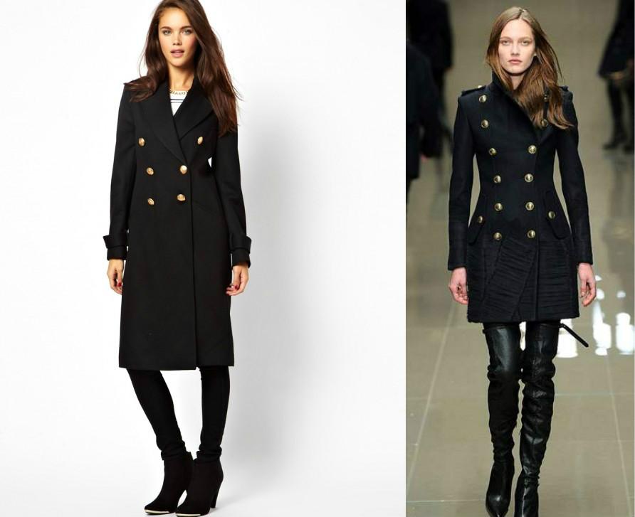 Пальто в духе милитари отличается строгостью фасона.