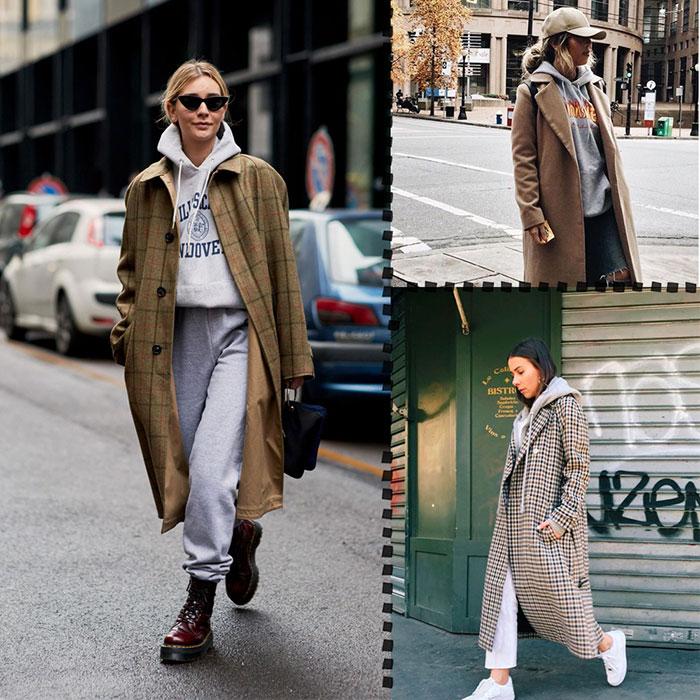 Аутфит их худи и пальто можно дополнить бейсболкой и солнцезащитными очками.