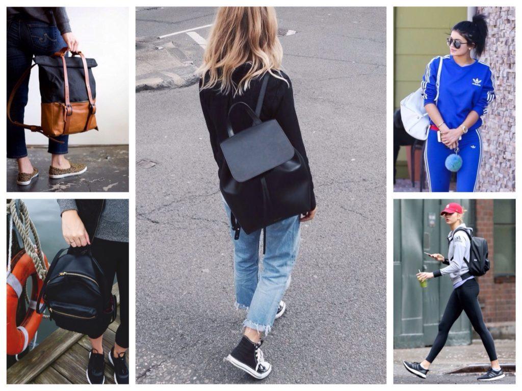 Рюкзак — популярный аксессуар в образах спорт-шик.