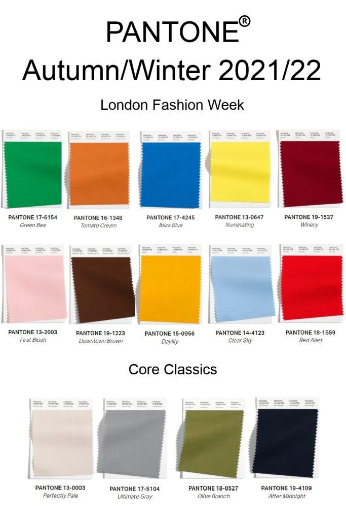 Модная палитра Лондон осень-зима 2021-2022